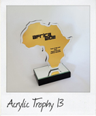 africa acrylic and rowmark trophy