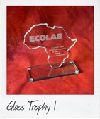 Glass Africa Shaped Trophy