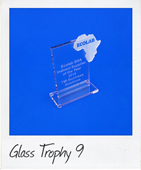 Glass rectangle trophy with glass Africa