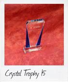 Blue sided crystal trophy