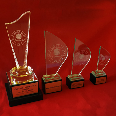 crystal and glass sails trophies
