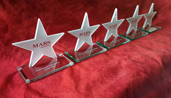 custom glass star trophies