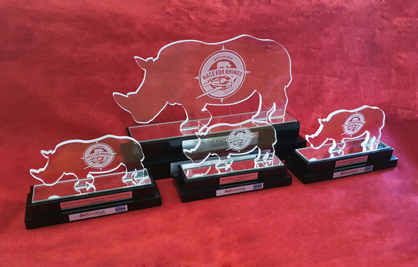 Custom Glass Rhino Trophies