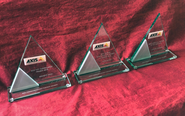 Glass triangle trophies