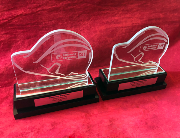 custom glass hard hat trophies